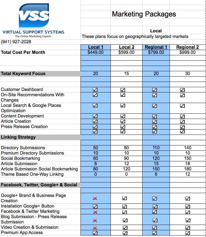VSS Local SEO Costs